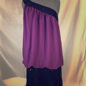 Purple sheer and black sequin dress